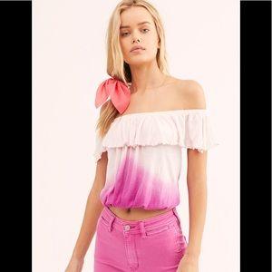 Free People Pink Cora Lee Off Shoulder Crop Top S